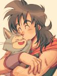>_< 1boy black_hair close-up closed_eyes dragon_ball dragon_ball_(classic) eyebrows_visible_through_hair forehead_kiss happy highres kiss long_hair male_focus neckerchief open_mouth orange_neckwear pink_background puar simple_background smile upper_body yamcha