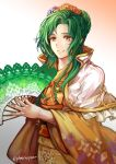 1girl elincia_ridell_crimea fan fire_emblem fire_emblem:_akatsuki_no_megami fire_emblem:_souen_no_kiseki fire_emblem_heroes floral_print green_hair hair_ornament highres holding holding_fan japanese_clothes jin_(phoenixpear) kimono long_hair obi parted_lips sash simple_background solo twitter_username wide_sleeves yellow_eyes yukata