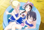 3girls :d absurdres annoyed asobi_asobase bare_legs bare_shoulders black_hair blonde_hair blue_swimsuit blush breasts brown-framed_eyewear brown_eyes closed_eyes collarbone diving_mask_on_head eyebrows_visible_through_hair fingernails glasses hair_between_eyes half-closed_eyes highres holding honda_hanako indoors itou_mayuka large_breasts long_hair looking_at_another looking_at_viewer low_twintails magazine_scan megami multiple_girls nomura_kasumi official_art olivia_(asobi_asobase) open_mouth partially_submerged pink-framed_eyewear ponytail scan school_swimsuit semi-rimless_eyewear shiny shiny_hair short_hair skindentation small_breasts smile swimsuit tongue twintails wading_pool wooden_floor