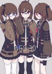 3girls adjusting_eyewear ags-30_(girls_frontline) ahoge belt black_legwear blue_eyes brown_eyes brown_hair character_name girls_frontline glasses hair_ornament highres looking_at_viewer military military_operator military_uniform multiple_girls open_mouth papaia_(quentingqoo) ponytail pouch red_eyes side_ponytail simple_background thigh-highs twintails uniform white_legwear
