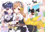 2girls :d animal_ears apron back_bow black_cat black_skirt black_vest blue_flower blue_hair blush bow bowtie brown_eyes brown_hair cat cat_ears commentary_request cover cover_page demon doujin_cover eyebrows_visible_through_hair fake_animal_ears flower food frilled_apron frilled_shirt_collar frills grey_neckwear hair_bow holding holding_tray hug hug_from_behind ice_cream indoors kunikida_hanamaru long_hair looking_at_viewer love_live! love_live!_sunshine!! maid maid_headdress mikimo_nezumi multiple_girls open_mouth orange_flower pink_flower round_teeth side_bun skirt smile spoon sundae teeth tray tsushima_yoshiko tulip upper_teeth v_over_eye vest violet_eyes waist_apron wrist_cuffs yellow_bow