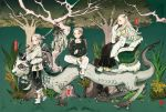 1boy 2girls :d black_skirt black_wings blush chair crossed_arms dragon eastern_dragon fantasy garden grey_hair hand_up horns long_sleeves looking_at_viewer multiple_girls on_animal open_mouth original outdoors over_shoulder pants sitting skirt sleeves_past_fingers sleeves_past_wrists smile standing tree white_footwear white_hair white_pants wings zzinp