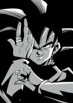 1boy black black_background black_eyes black_hair dragon_ball dragon_ball_super earrings evil_grin evil_smile fingernails gokuu_black grey greyscale grin highres jewelry looking_at_viewer male_focus monochrome potara_earrings ring shaded_face short_hair simple_background smile spiky_hair tetsuyo