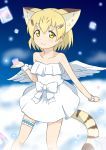 1girl absurdres angel_wings animal_ears bare_shoulders blonde_hair cat_ears cat_tail clouds collarbone commentary cube dress extra_ears hair_ornament hairclip highres kemono_friends leg_garter looking_at_viewer sand_cat_(kemono_friends) sandstar shiraha_maru short_hair smile solo strapless strapless_dress tail white_dress wings wrist_cuffs yellow_eyes
