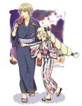 black_bow blonde_hair bow brother_and_sister dated earrings elise_(fire_emblem_if) fire_emblem fire_emblem_heroes fire_emblem_if floral_print from_side hair_bow hiwa_kurige ikayaki japanese_clothes jewelry kimono leon_(fire_emblem_if) long_hair multicolored_hair obi open_mouth pointing purple_hair sandals sash short_hair siblings standing twintails twitter_username violet_eyes wide_sleeves yukata