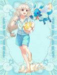1girl :d ahoge ball beachball blue_background blue_eyes blue_shirt blue_shorts bracelet brown_eyes clenched_hand dragon full_body hand_up holding holding_ball jewelry long_hair low-tied_long_hair open_mouth original sandals seashell_print shirt shorts slee smile standing standing_on_one_leg