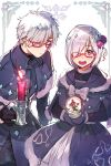 1boy 1girl bow candle capelet double-breasted dress fate/grand_order fate_(series) fur_trim galahad_(fate) glasses grand_dobu hair_over_one_eye highres lavender_hair looking_at_viewer mash_kyrielight matching_outfit red-framed_eyewear silver_hair simple_background smile snow_globe violet_eyes white_background white_bow winter_clothes yellow_eyes
