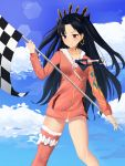 1girl absurdres bangs black_hair black_ribbon blue_sky blush checkered checkered_flag closed_mouth clouds commentary_request day ds_a earrings fate/grand_order fate_(series) flag forehead fur-trimmed_jacket fur-trimmed_legwear fur_trim hair_ribbon highres holding holding_flag hoop_earrings ishtar_(fate/grand_order) ishtar_(swimsuit_rider)_(fate) jacket jewelry long_hair long_sleeves outdoors parted_bangs pink_jacket red_eyes red_legwear ribbon single_thighhigh sky smile solo standing thigh-highs tiara tohsaka_rin two_side_up very_long_hair