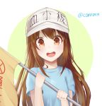 1girl :d blue_shirt blush brown_eyes brown_hair character_name clothes_writing commentary_request ds_a flag flat_cap green_background grey_hat hands_up hat hataraku_saibou holding holding_flag long_hair looking_at_viewer open_mouth platelet_(hataraku_saibou) round_teeth shirt short_sleeves smile solo teeth twitter_username two-tone_background upper_teeth very_long_hair white_background