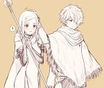 1boy 1girl blush dress gloves jewelry long_hair monochrome octopath_traveler ophilia_(octopath_traveler) petting scarf short_hair simple_background smile staff therion_(octopath_traveler) wspread