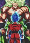 2boys blue_hair broly clenched_hands derivative_work dougi dragon_ball dragon_ball_super dragonball_z evil_grin evil_smile facing_away green_hair grin height_difference highres male_focus multiple_boys muscle no_pupils scar shirtless short_hair smile son_gokuu spiky_hair star starry_background super_saiyan_blue teeth wallpaper wristband