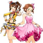 2girls :d ahoge bangs bare_legs bare_shoulders blazer bow bowtie brown_eyes brown_hair commentary cosplay costume_switch crossover dress drill_hair earrings embarrassed eyebrows_visible_through_hair frilled_skirt frills green_eyes hair_ornament hair_slicked_back hand_on_hip hat idol idolmaster idolmaster_cinderella_girls idolmaster_cinderella_girls_starlight_stage idolmaster_million_live! jacket jewelry midriff mini_hat miridereningen multiple_girls namba_emi navel octopus one_eye_closed open_mouth pink_dress sash side_ponytail simple_background skirt skirt_hold smile suspenders upper_teeth wavy_hair white_background yokoyama_nao