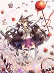 1girl abstract_background absurdres ahoge animal_ears basket black_hair blurry bow cake candy cherry coffee coffee_cup cup depth_of_field disposable_cup doughnut food fox_ears fox_tail frilled_shirt frills fruit hair_bow hand_up heart highres jumping keis_(locrian1357) lollipop long_hair midriff miniskirt multiple_tails neck_ribbon original pose ribbon shirt skirt smile solo staff star suspenders tail thigh-highs violet_eyes zettai_ryouiki