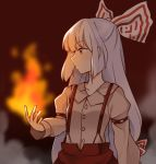 1girl bow collared_shirt fire flame fujiwara_no_mokou hair_bow large_bow long_hair pants profile red_eyes shirt silver_hair solo suspenders touhou very_long_hair yururi_nano