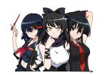 3girls absurdres akame akame_ga_kill! animal_ears arm_ribbon bare_shoulders black_hair black_scarf blake_belladonna bow cat_ears coattails crossover detached_sleeve flower gloves hair_bow highlights highres kill_la_kill kusarigama long_hair looking_at_viewer matoi_ryuuko midriff multicolored_hair multiple_girls navel necktie red_eyes redhead reyfearspsychosis ribbon rwby scarf scissor_blade senketsu shirt short_hair sickle single_glove sleeveless sleeveless_shirt streaked_hair suspenders tagme trait_connection two-tone_hair vambraces very_long_hair vest weapon yellow_eyes