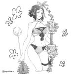 1girl arrow bikini bow_(weapon) breasts circlet cleavage closed_mouth fire_emblem fire_emblem:_kakusei fire_emblem_heroes flower greyscale holding holding_arrow holding_bow_(weapon) holding_weapon insarability medium_breasts midriff monochrome navel noire_(fire_emblem) short_hair simple_background solo swimsuit thigh_strap twitter_username weapon white_background