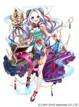 1girl absurdres akiru_(hokuouhuuhu) aqua_dress blue_eyes breasts bun_cover cleavage double_bun dress floral_print full_body gothic_wa_mahou_otome heart_cutout highres holding holding_staff jewelry long_hair looking_at_viewer medium_breasts mimic mimic_chest official_art silver_hair skirt_hold solo staff standing standing_on_one_leg tassel tongue tongue_out very_long_hair watermark