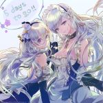 2girls apron azur_lane backless_dress backless_outfit bangs bare_shoulders belfast_(azur_lane) black_gloves bow braid breasts buttons chains cleavage closed_mouth collar collarbone corset countdown detached_sleeves dress edinburgh_(azur_lane) elbow_gloves eyebrows_visible_through_hair eyelashes fingerless_gloves flower french_braid frilled_apron frilled_gloves frills glasses gloves hair_bow hair_ornament highres long_hair long_sleeves looking_at_viewer maid maid_apron maid_headdress multiple_girls open_mouth round_eyewear sailor_collar silver_hair sleeveless sleeveless_dress smile speech_bubble tsukioka_tsukiho very_long_hair violet_eyes waist_apron watermark white_apron white_gloves