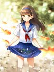 1girl blue_hairband blue_skirt blurry blurry_background blush brown_eyes brown_hair eyebrows_visible_through_hair fish flower goldfish hairband looking_at_viewer mameris2 school_uniform serafuku shirt skirt skirt_basket smile standing wading water white_shirt