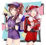 2girls :d alternate_hairstyle backpack bag bang_dream! bangs baseball_cap brown_eyes brown_hair buckle bunny_earrings charm_(object) clothes_writing commentary_request cowboy_shot cup flower grey_eyes group_name hair_flower hair_ornament hair_scrunchie hat hat_ornament hat_writing holding holding_cup hose hose_nozzle imai_lisa muchise multiple_girls open_mouth outline pink_hair ponytail purple_shirt purple_shorts red_flower red_rose red_scrunchie red_shirt red_skirt rose scrunchie shirt short_sleeves shorts side_ponytail sidelocks skirt smile sweatband uehara_himari white_outline