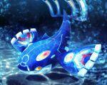 bubble creatures_(company) dark_background game_freak gen_3_pokemon kurosiro kyogre legendary_pokemon looking_at_viewer nintendo no_humans pokemon pokemon_(game) pokemon_oras primal_kyogre solo underwater