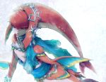 1girl fins fish_girl hair_ornament jewelry long_hair mipha monster_girl multicolored multicolored_skin no_eyebrows red_skin redhead simple_background solo the_legend_of_zelda the_legend_of_zelda:_breath_of_the_wild yellow_eyes yo_mo zora