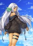 1girl azur_lane bangs black_shorts blue_sky blurry blurry_background blush breasts brown_jacket closed_mouth clouds cloudy_sky commentary_request dark_skin day depth_of_field eyebrows_visible_through_hair facial_mark forehead_mark jacket long_hair long_sleeves looking_at_viewer looking_back massachusetts_(azur_lane) medium_breasts native_american off_shoulder outdoors parted_bangs pensuke puffy_long_sleeves puffy_sleeves red_eyes short_shorts shorts silver_hair sky sleeves_past_wrists solo standing very_long_hair