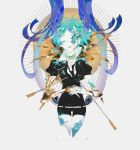 1other androgynous arrow broken colored_eyelashes copyright_name decapitation eyeball gem_uniform_(houseki_no_kuni) gold green_eyes green_hair highres houseki_no_kuni lapis_lazuli_(houseki_no_kuni) looking_at_viewer missing_limb necktie phosphophyllite shards short_hair spoilers