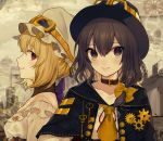 2girls absurdres adapted_costume alternate_costume ascot bare_shoulders belt_collar black_capelet black_hat blonde_hair bow breasts brown_collar brown_eyes brown_hair capelet collar collarbone commentary_request daimaou_ruaeru detached_collar eyebrows_visible_through_hair fedora frills from_side gears goggles goggles_on_headwear hair_between_eyes hair_bow hat highres key lips looking_at_viewer maribel_hearn medium_breasts mob_cap multicolored_hair multiple_girls off-shoulder_shirt off_shoulder profile purple_bow red_ribbon ribbon shirt short_hair smile streaked_hair touhou upper_body usami_renko violet_eyes white_hat white_shirt yellow_bow yellow_neckwear