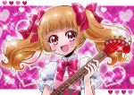 1girl :d aisaki_emiru bangs blunt_bangs blush bow brown_hair cokata dress eyebrows_visible_through_hair guitar hair_bow heart heart_background heart_pattern hugtto!_precure instrument long_hair open_mouth pink_background pink_bow precure red_eyes short_sleeves smile solo sparkle twintails upper_body