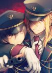 2boys ;( at_gunpoint blonde_hair blue_eyes brown_eyes brown_hair gloves gun hair_between_eyes hair_over_one_eye hat highres holding holding_gun holding_weapon long_hair male_focus military military_hat military_uniform multiple_boys natsuki_yuka necktie necktie_grab neckwear_grab original ponytail red_background red_neckwear red_pupils sidelocks signature smile uniform upper_body weapon white_gloves