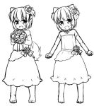 1girl :d animal_ears bangs bare_shoulders barefoot blush bouquet commentary_request detached_sleeves dog_ears dress eyebrows_visible_through_hair fang flower greyscale hair_flower hair_ornament head_tilt holding holding_bouquet inuarashi long_sleeves looking_at_viewer monochrome multiple_views open_mouth original rose short_hair simple_background smile standing strapless strapless_dress white_background