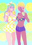 2girls bikini_shorts bleach blonde_hair blue_eyes bracelet breasts brown_eyes cleavage collarbone cup dark_skin dress drinking drinking_straw earrings facial_mark food food_themed_earrings green_hair green_nails hairband ice_cream_cone jewelry large_breasts lemon_earrings lemon_print lime_earrings lime_print long_hair looking_at_another looking_at_viewer multiple_girls nail_polish necklace nelliel_tu_odelschwanck popsicle ronisuke short_dress shorts tier_harribel yellow_nails
