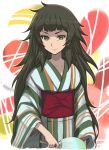 1girl alternate_costume cowboy_shot fan flat_chest green_eyes green_hair highres hiyajou_maho japanese_clothes kimono long_hair looking_at_viewer menomorute obi paper_fan sash smile solo steins;gate steins;gate_0 thick_eyebrows uchiwa wide_sleeves