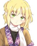 1girl :/ blonde_hair expressionless green_eyes half_updo head_tilt looking_at_viewer mizuhashi_parsee pointy_ears robe scarf solo touhou yururi_nano