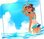 1girl aoba_misaki back bikini bikini_skirt blue blue_eyes blue_sky brown_eyes brown_hair commentary from_behind goggles goggles_on_head half_updo idolmaster idolmaster_million_live! looking_back midriff miridereningen ocean sailor_collar short_twintails sky snorkel solo standing summer swimsuit tan tanline twintails wading water water_drop wet