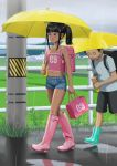 1boy 1girl bag bare_legs black_hair boots enkaboots grass highres holding holding_bag holding_umbrella no_socks rubber_boots shirt sleeveless sleeveless_shirt t-shirt tank_top telephone_pole umbrella walking