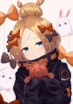 1girl abigail_williams_(fate/grand_order) balloon bangs beige_background black_bow black_jacket blonde_hair blue_eyes bow closed_mouth commentary_request crossed_bandaids eyebrows_visible_through_hair fate/grand_order fate_(series) hair_bow hair_bun highres holding holding_stuffed_animal jacket long_hair long_sleeves looking_at_viewer medjed orange_bow parted_bangs polka_dot polka_dot_bow shirokun0824 simple_background sleeves_past_fingers sleeves_past_wrists solo stuffed_animal stuffed_toy teddy_bear