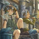 2boys ;) animal animal_on_shoulder bird bird_on_hand black_footwear brown_eyes brown_gloves brown_hair closed_eyes fingerless_gloves gloves goggles hairband headband helmet jacket knee_up male_focus mouse multiple_boys one_eye_closed original pipes rua_(pixiv292244) shoes shorts sitting smile sweatdrop trash_can white_hair zipper