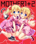 2girls :o ana_(mother) ape_(company) bangs bare_arms blonde_hair blue_eyes blush bow breasts collared_dress copyright_name crossed_bangs doseisan dress fang frying_pan hair_between_eyes hair_bow hal_laboratory_inc. hand_holding highres loli looking_at_viewer mary_janes mother_(game) mother_1 mother_2 multiple_girls nintendo outline paula_(mother_2) phone pink_dress puffy_short_sleeves puffy_sleeves red_background red_bow red_footwear shoes short_sleeves small_breasts socks trait_connection twintails white_legwear white_outline yatanukikey