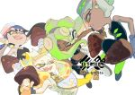 4girls aori_(splatoon) black_gloves black_hair candy cephalopod_eyes crop_top crown dark_skin fingerless_gloves food gloves green_eyes green_legwear headphones highres hime_(splatoon) hotaru_(splatoon) iida_(splatoon) inoue_seita kinoko_no_yama logo looking_at_another midriff mini_crown multiple_girls navel_piercing octarian official_art piercing pointy_ears simple_background smile splatoon splatoon_1 splatoon_2 takenoko_no_sato_(food) tentacle_hair white_background white_hair yellow_legwear zipper