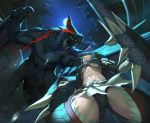 1girl black_hair breasts claws commentary_request crotch fishnets from_below glowing glowing_eyes lance large_breasts midriff monster monster_hunter moon nargacuga nargacuga_(armor) night polearm red_eyes rotix sharp_teeth shield solo teeth under_boob weapon