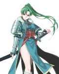 armor asymmetrical_bangs bangs breasts coat cowboy_shot dress earrings fingerless_gloves fire_emblem fire_emblem:_kakusei fire_emblem:_rekka_no_ken fur-trimmed_boots fur-trimmed_coat fur_trim gauntlets gloves green_eyes green_hair hand_on_hilt highres japanese_armor jewelry katana kori_(etinop) long_hair long_sleeves looking_at_viewer lyndis_(fire_emblem) medium_breasts pelvic_curtain ponytail sash scabbard sheath sheathed shoulder_armor side_slit simple_background smile sword thighs weapon white_background