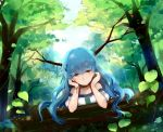 1girl bangs blue_hair bracelet collar collarbone day earrings eyebrows_visible_through_hair forest highres jewelry leaf long_hair looking_at_viewer nature off_shoulder original outdoors solo upper_body very_long_hair yellow_eyes yorktown_cv-5