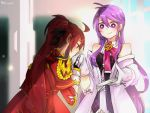 2girls aether_sage_(elsword) ahoge aisha_(elsword) antenna_hair bare_shoulders blush dated elesis_(elsword) elsword empire_sword_(elsword) gloves gomiyama hair_between_eyes hand_kiss holding holding_paper kiss long_hair looking_at_another multiple_girls paper ponytail purple_hair red_eyes redhead signature smile upper_body very_long_hair violet_eyes white_gloves yuri