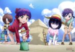 3girls 5boys absurdres adapted_costume all_fours barefoot beach bent_over black_hair blue_shorts blue_sky blurry_foreground book bow brown_hair choker clouds day food full_body gegege_no_kitarou hair_bow hair_ornament hair_over_one_eye hairclip hanako-san_(gegege_no_kitarou) hand_on_own_knee hat highres holding holding_food inuyama_mana ittan-momen jacket kitarou magical_girl medama_oyaji multiple_boys multiple_girls nekomusume nekomusume_(gegege_no_kitarou_6) nezumi_otoko nude nurikabe_(character) older open_book outdoors outstretched_arm pink_shirt pointy_ears popsicle red_bow red_jacket shimizu_sorato shirt short_hair short_shorts short_sleeves shorts shoulder_cutout sky smile standing straw_hat sun_hat violet_eyes watermelon_bar white_shirt white_shorts yellow_eyes yellow_hat yellow_shorts