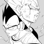 2boys armor black_eyes black_hair blood close-up dirty dirty_face dragon_ball dragonball_z dual_persona face frown grey_background greyscale highres looking_to_the_side looking_up majin_vegeta male_focus monochrome multiple_boys panels scouter serious short_hair simple_background spiky_hair super_saiyan tkgsize upper_body vegeta