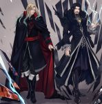 2boys aqua_eyes beard black_hair blonde_hair candy cape castlevania castlevania_(netflix) coat cosplay costume_switch crossover death_(castlevania) demon dracula facial_hair fate/apocrypha fate/grand_order fate_(series) fingernails food glass_shards gradient_hair halloween highres julia_yit lightning long_fingernails long_hair multicolored_hair multiple_boys pointy_ears pumpkin red_eyes vampire vlad_iii_(fate/apocrypha)