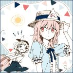 2girls adapted_costume alternate_eye_color asahi_(uwa) blue_border blue_shirt blush bob_cut border collared_shirt cowboy_shot frilled_sleeves frills grey_eyes hairband hand_on_headwear hat konpaku_youmu medium_hair multiple_girls patterned_background pink_eyes pink_hair ribbon saigyouji_yuyuko shirt short_hair short_sleeves sketch straw_hat suitcase summer sun touhou triangular_headpiece upper_body vest_removed white_hair