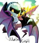 blue_skin galaxia_(sword) gloves kehukokonohe kirby_(series) mask meta_knight sword weapon wings yellow_eyes